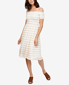 Lucky Brand Striped Off-The-Shoulder Dress