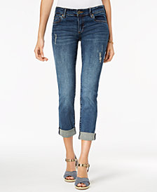 Kut from the Kloth Petite Katy Cuffed Destructed Boyfriend Jeans