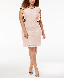 Love Squared Trendy Plus Size Ruffled Lace Dress