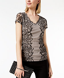 I.N.C. Lace Ruched Mesh V-Neck Top, Created for Macy's