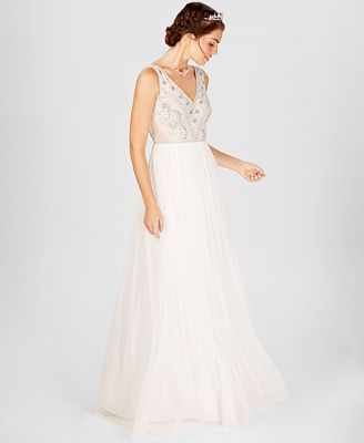 Adrianna Papell Beaded Illusion Gown Dresses Women Macy S