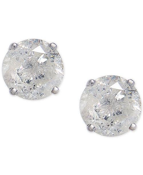 Macy S Diamond Stud Earrings 3 4 Ct T W In 14k White Gold Jewelry Watches