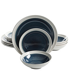 Gibson Elite Clementine Blue 12-Pc. Dinnerware Set, Service for 4