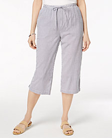 Karen Scott Petite Cotton Striped Seersucker Capri Pants, Created for Macy's