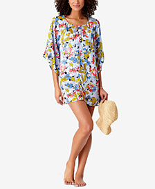 STUDIO Anne Cole Brigitte Floral-Print Crochet-Trim Cover-Up