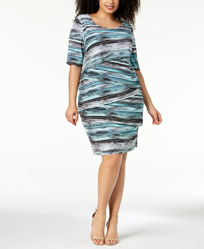 Connected Plus Size Printed Tiered Sheath Dress