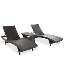 Ventura Outdoor 3-Piece Chaise Lounge & Table Set, Quick Ship
