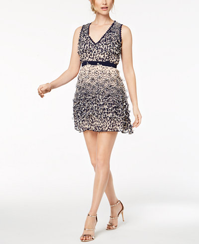 foxiedox Floral-Appliqué Fit & Flare Dress