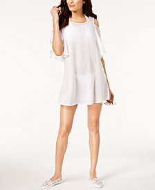 MICHAEL Michael Kors Studded Cold-Shoulder Ruffle Dress Cover-Up