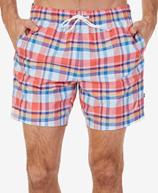 "Nautica Men's Coastal Beach Quick-Dry Madras Plaid 6"" Swim Trunks"