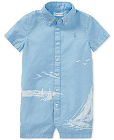 Polo Ralph Lauren Twill Graphic Cotton Romper, Baby Boys