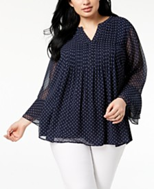 Charter Club Plus Size Pleated Chiffon Blouse, Created for Macy's