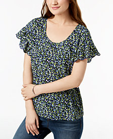 MICHAEL Michael Kors Floral Flutter-Sleeve Top, Regular & Petite