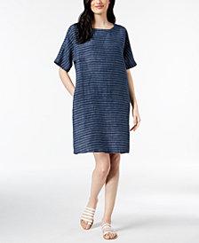 Eileen Fisher Organic Linen Striped Linen Dress