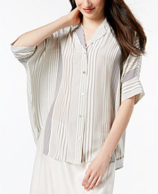 Eileen Fisher Silk Striped Oversized Shirt, Regular & Petite