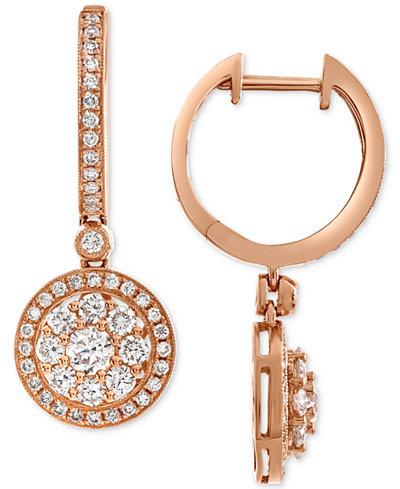 Diamond Halo Dangle Hoop Earrings (1-1/4 ct. t.w.) in 14k Rose Gold