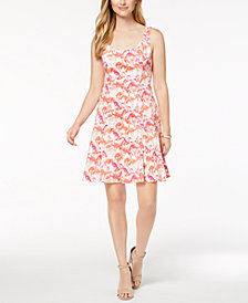 Pappagallo Flamingo-Print Fit & Flare Dress