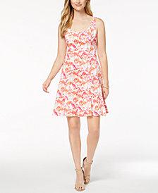 Pappagallo Flamingo-Print Fit & Flare Dress
