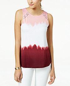Hippie Rose Juniors' Lace-Up Tie-Dyed Tank Top