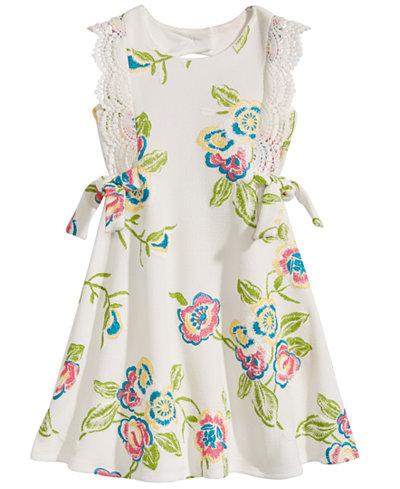 Bonnie Jean Floral-Print Venise Lace Dress, Little Girls