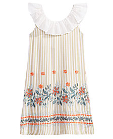 Bonnie Jean Ruffle-Neck Embroidered Dress, Little Girls