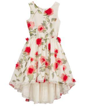 Nanette Lepore Rose Applique High-Low Hem Dress, Big Girls 5861344