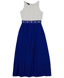 BCX Embellished-Waist Lace Maxi Dress, Big Girls