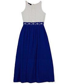 BCX Embellished-Waist Lace Maxi Dress, Big Girls