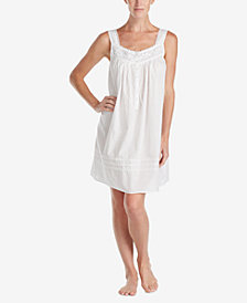 Eileen West Embroidered-Neckline Woven Nightgown