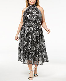 MICHAEL Michael Kors Plus Size Metallic-Print Halter Dress