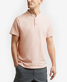 Kenneth Cole.Waffle-Knit Band-Collar Henley