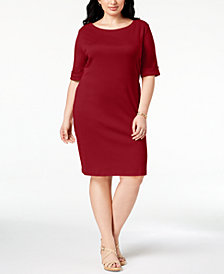Karen Scott Plus Size Cotton Shift Dress, Created for Macy's