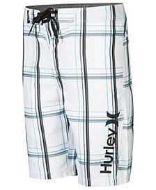Puerto Rico Plaid Board Shorts, Little Boys