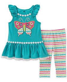 Kids Headquarters 2-Pc. Butterfly Tunic & Floral-Print Leggings Set, Toddler Girls