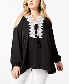Love Scarlett Plus Size Cold-Shoulder Tunic