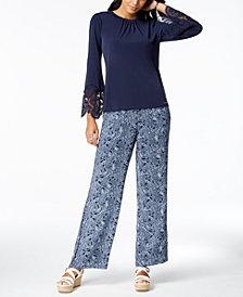 MICHAEL Michael Kors Lace-Bell-Sleeve Top & Paradise Paisley Pants