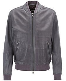 BOSS Men's Perforated Leather Jacket