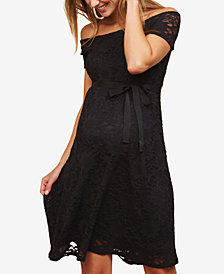 Motherhood Maternity Lace Off-The-Shoulder Dress