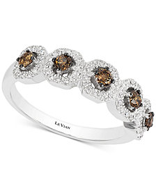 Le Vian Chocolatier® Diamond Halo Five Stone Ring (1/2 ct. t.w.) in 14k White Gold
