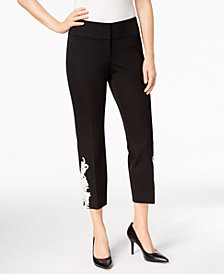 Alfani Petite Lace-Appliqué Ankle Pants, Created for Macy's