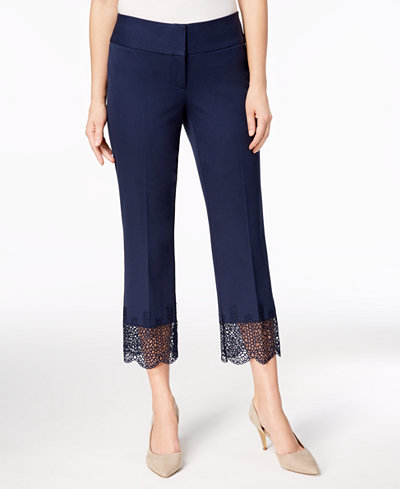 Alfani Lace-Hem Tummy-Control Ankle Pants, Created for Macy's