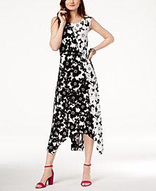 I.N.C. Two-Tone Handkerchief-Hem Dress, Created for Macy's