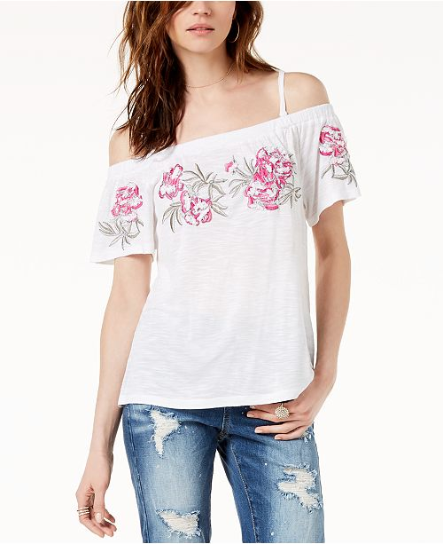 3a18f2db7e46bc INC International Concepts I.N.C. Embroidered Off-The-Shoulder Top ...