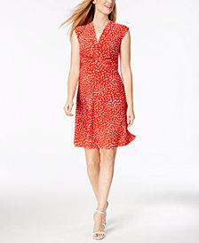 Anne Klein Printed Twist-Front Dress