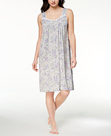 Charter Club Floral-Print Lace-Trim Nightgown, Created for Macy's