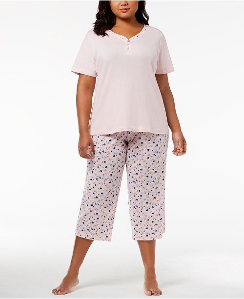 Charter Club Mix It Plus Size Cotton Pajama Set