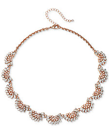 "Jewel Badgley Mischka Rose Gold-Tone Crystal & Imitation Pearl Collar Necklace, 16"" + 3"" extender"
