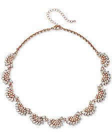 "Jewel Badgley Mischka Rose Gold-Tone Crystal & Imitation Pearl Collar Necklace, 16"" + 3"" extender"
