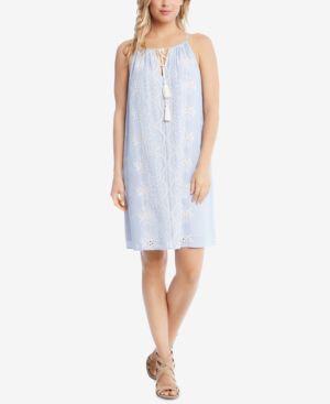 Karen Kane Cotton Striped Eyelet Dress 5954297