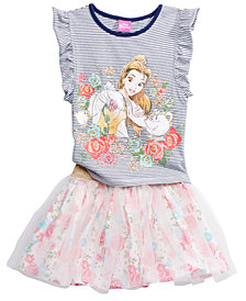 Disney 2-Pc. Belle Top & Scooter Skirt Set, Little Girls